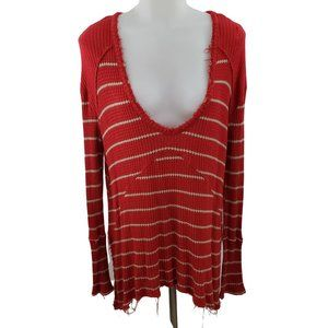 Free People Thermal S Red Tan Stripe Deep V Scoop